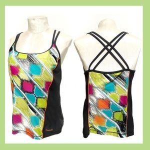 Reebok Colorful Tankini Swimsuit Top Large